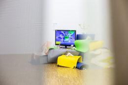 Fotografia prezentuje widok instalacji pokazywanej już wcześniej, złożonej z telewizora, kolorowych arkuszy papieru i drobnych białych przedmiotów. Tym razem pierwszy plan zdjęcia zdominowany jest przez rozsunięte półprzejrzyste kotary, a instalacja znajduje się w głębi. Po prawej i lewej stronie widok jest rozmyty przez wspomniane wcześniej kotary, które lekko zakrywają przedmioty.